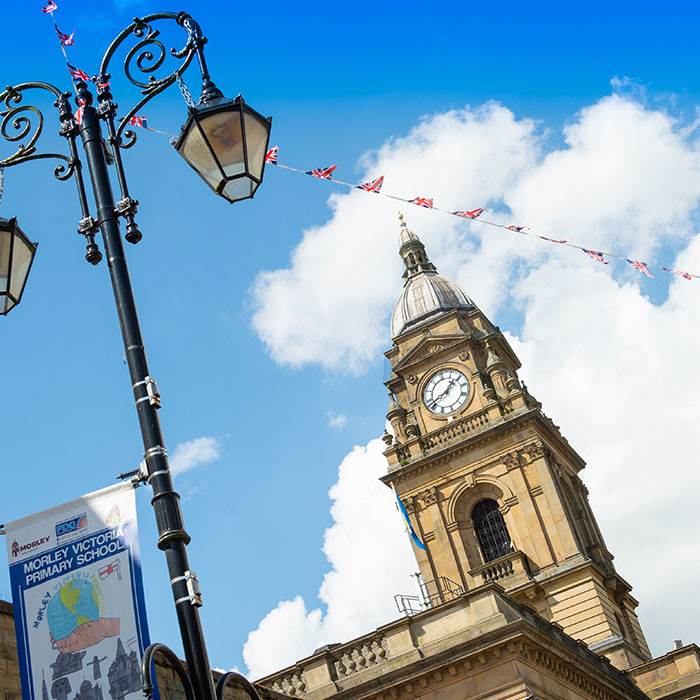 Flags flying over Morley Town Hall